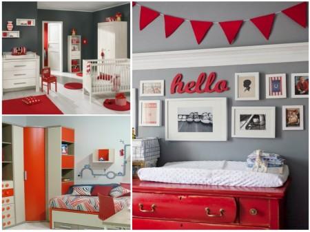 habitaciones infantiles: gris +rojo 2