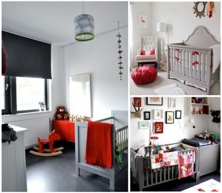 habitaciones infantiles: gris + rojo