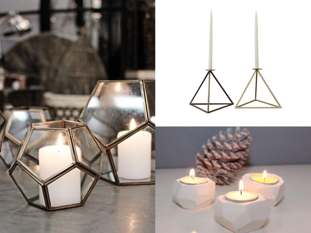 Candelabros de cristal vistos en Blackballoon, candelabros metálicos visto en 1stdibs y candelabros arcilla vistos en Ars textura.
