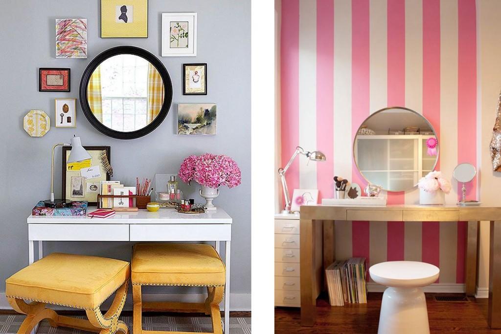 Tocador en amarillos visto en Pinterest y tocador en rosas visto en Front+maint.