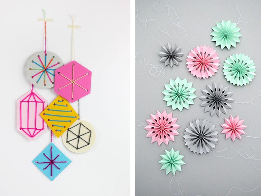 Figuras con puntadas de lana vistas en Mrprintables y estrellas de papel vistas en Minieco.
