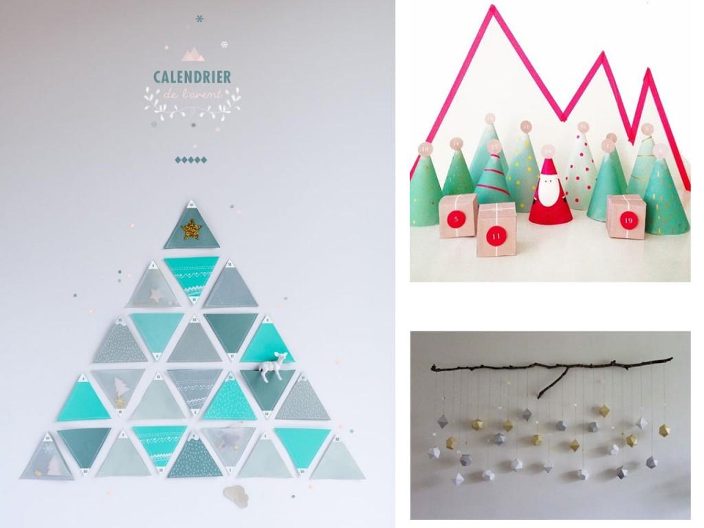Árbol de triángulos echo con fieltro visto en My little fabric, calendario con personajes visto en A lovely lark y calendario  rombos 3D visto en Sana e ishida.