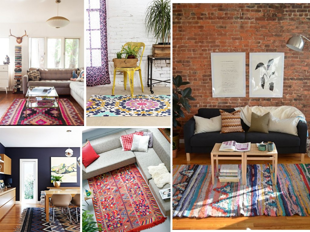 Alfombra en fucsias vista en Design sponge, alfombra con silla amarilla, alfombra de colores con pared de ladrillo, alfombra en azules oscuros y alfombra en rojos.