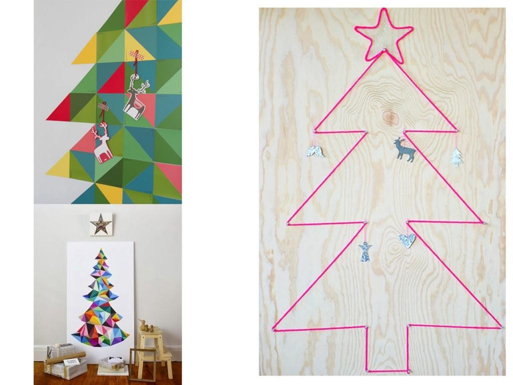 Árbol recortes de papel, árbol cuadro y árbol de lana vistos en Pinterest.