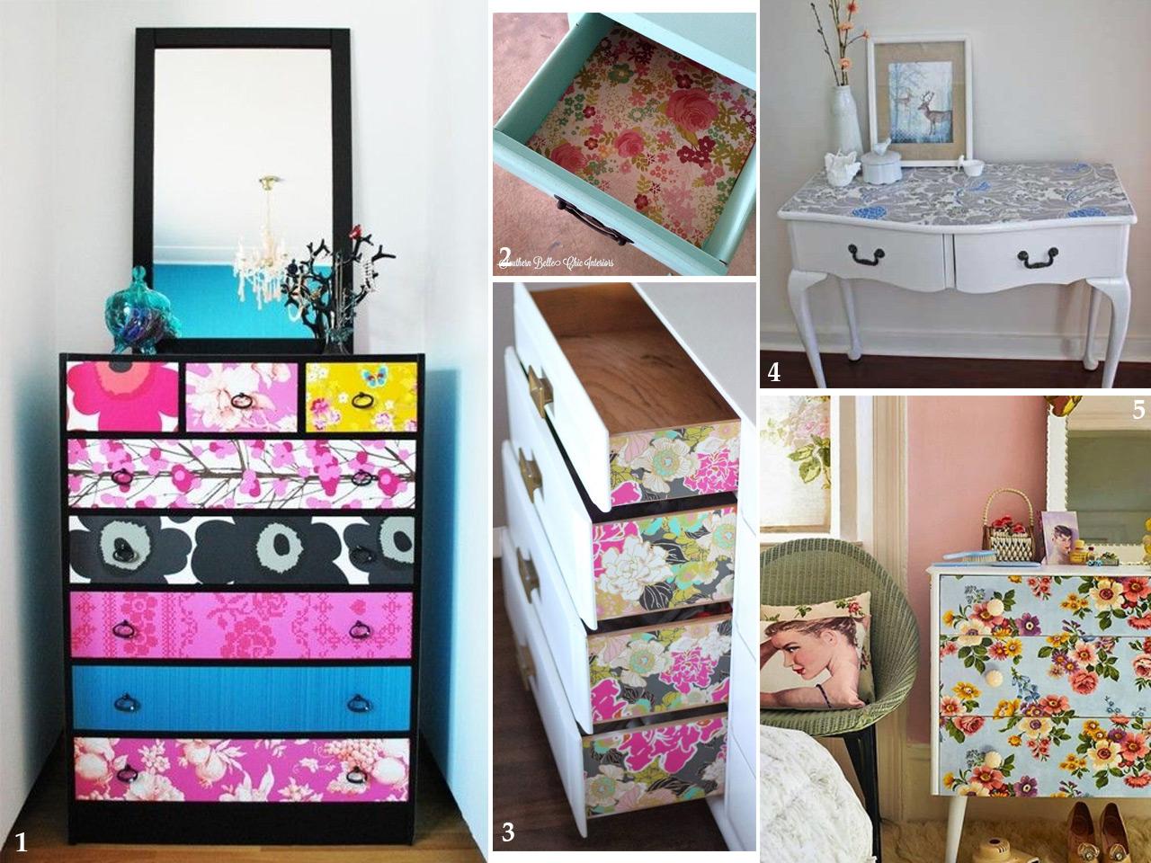Propuestas Diferentes Para Decorar Con Papel Pintado ~ Decorar Muebles Con Papel Pintado