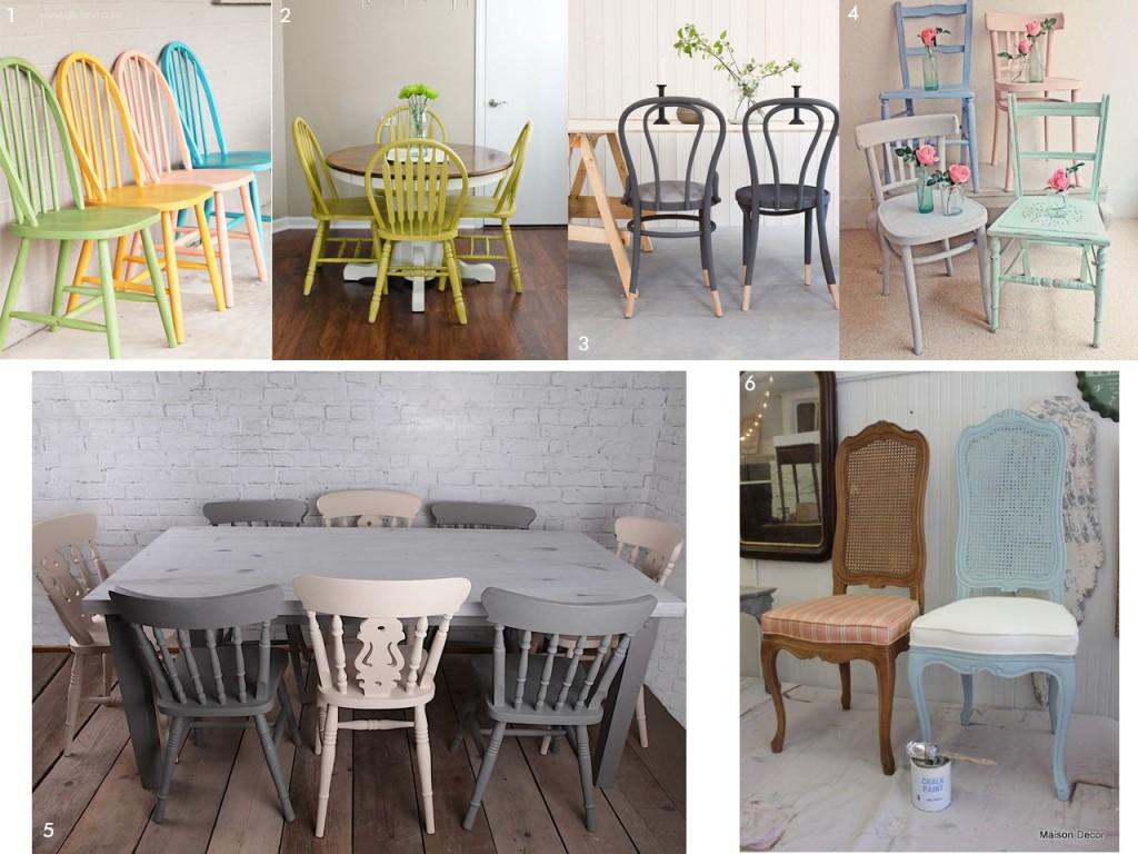 mesas con pintura a la tiza