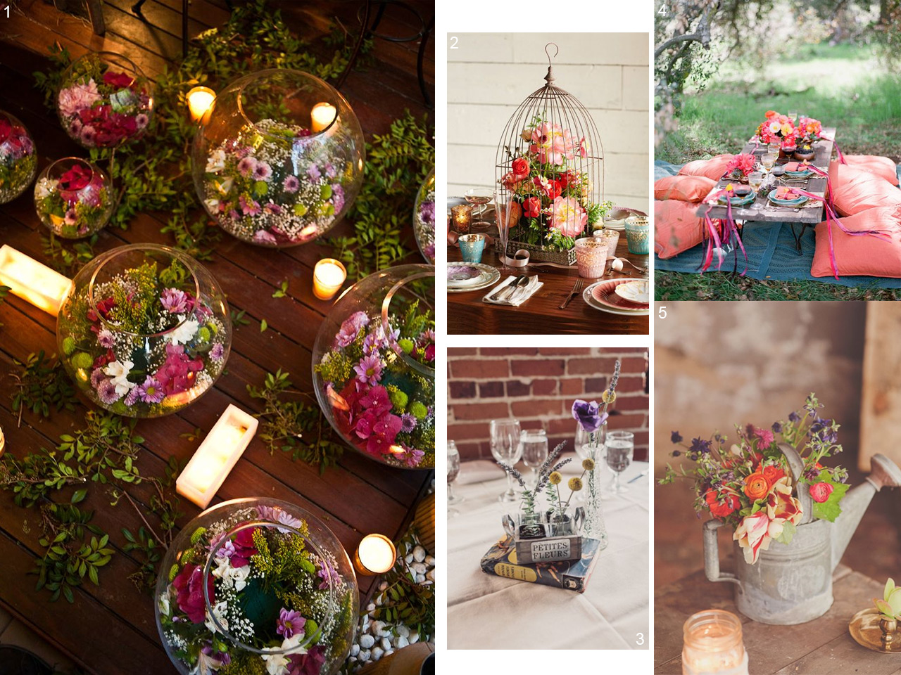 6 estilos diferentes para decorar con centros de mesa. Black Bedroom Furniture Sets. Home Design Ideas