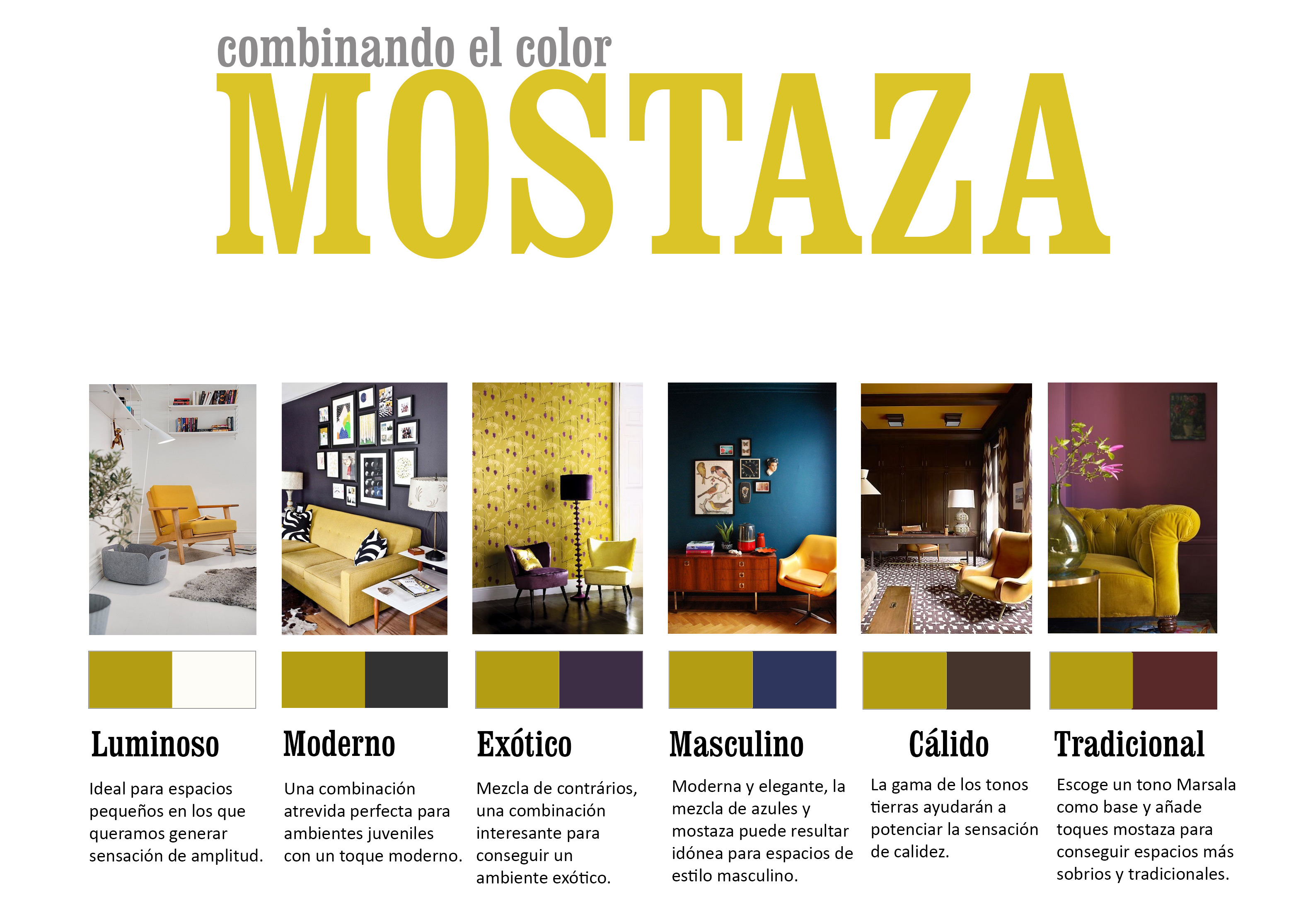 Atr vete con una decoraci n en color mostaza - Como combinar colores en decoracion ...