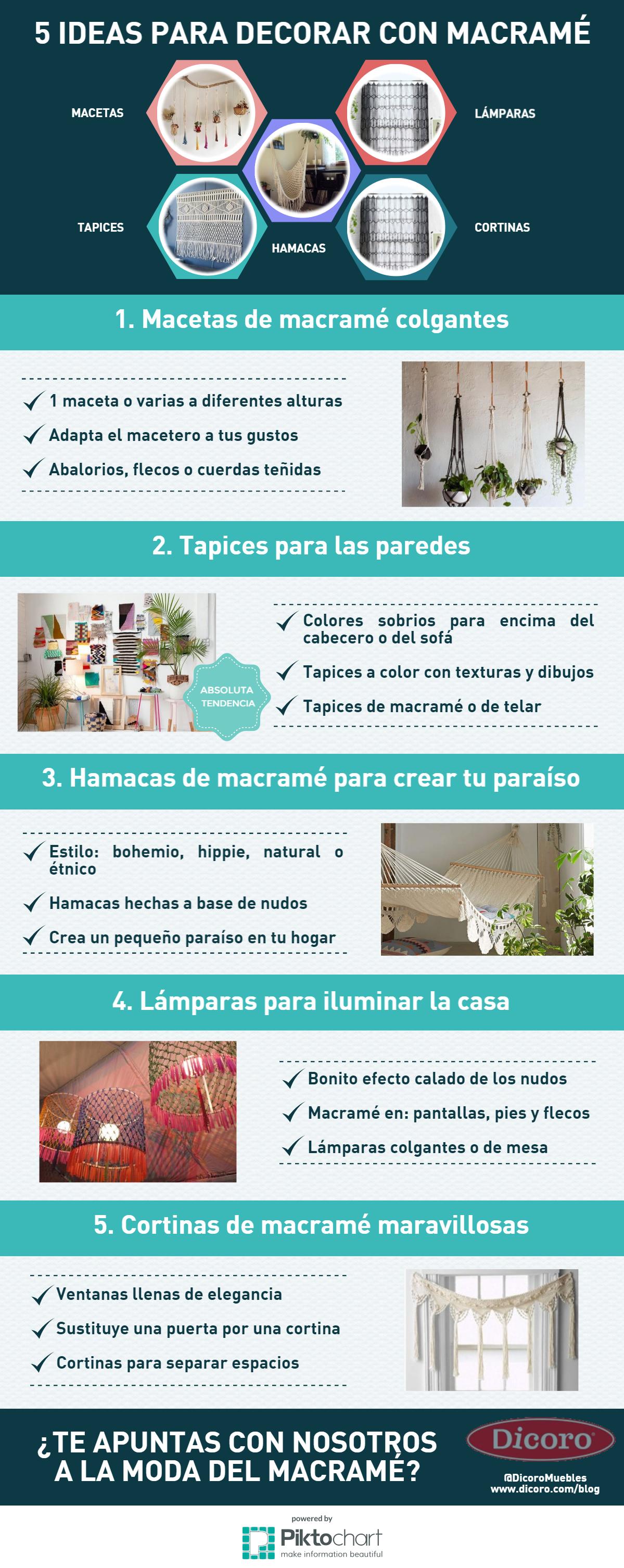 Infografía 5 ideas para decorar con macramé