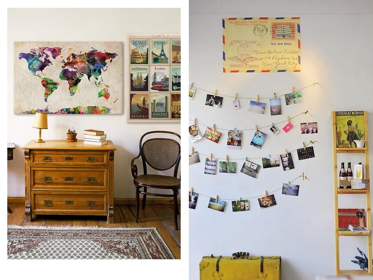 Una decoraci n con recuerdos de viajes y vacaciones for Decoracion con fotos en pared