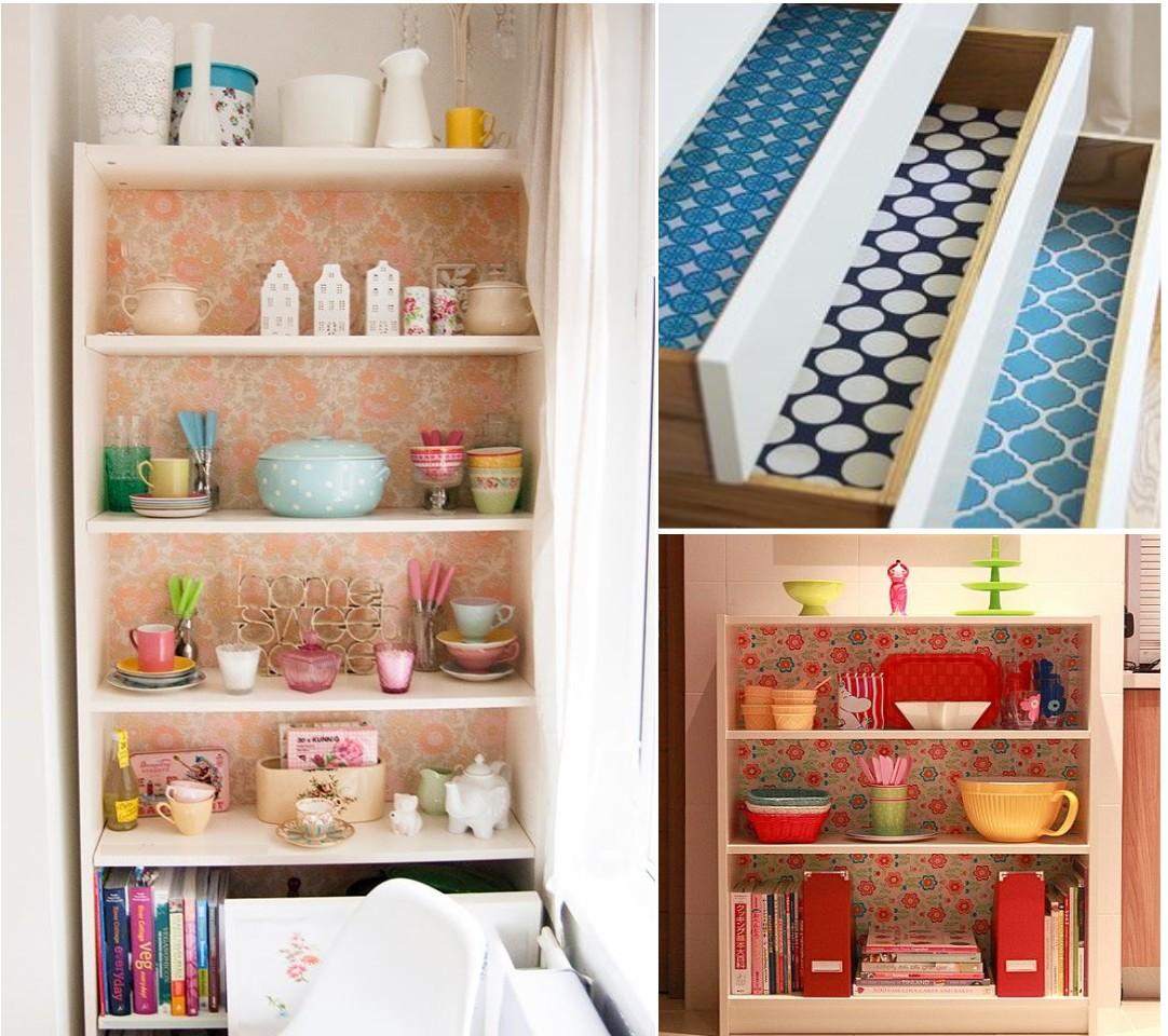 Decoraci n de cocinas con papel pintado - Forrar muebles con papel pintado ...