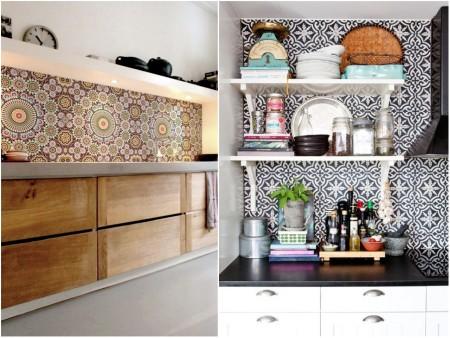 Cocinas con papel pintado: estilo árabe