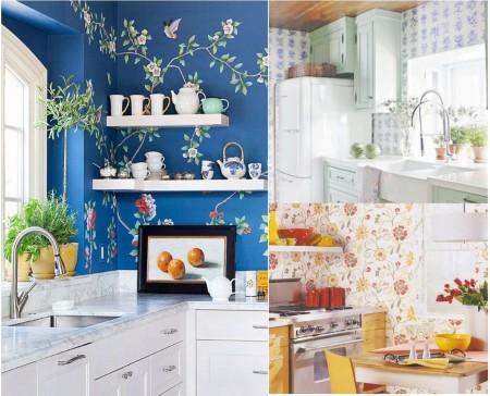 Cocinas con papel pintado: flores