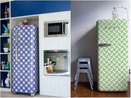 Cocinas con papel pintado: neveras