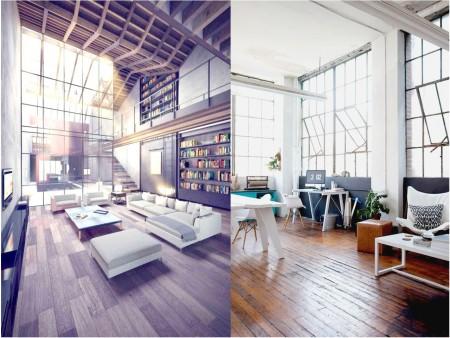 Decoración vintage industrial: ventanales y puertas de hierro