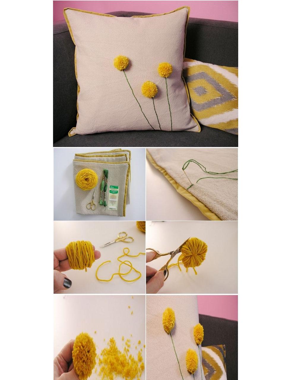 7 s per ideas para hacer pompones de lana para decorar - Cojines de lana ...