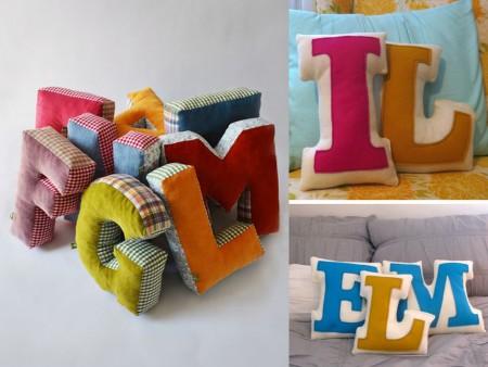 Cojines decorativos de letras
