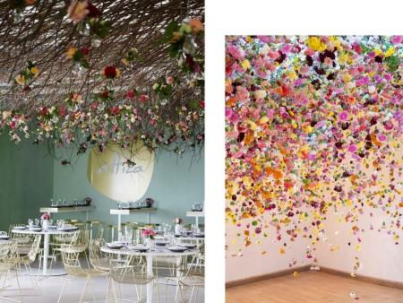 Decoración con flores colgando del techo