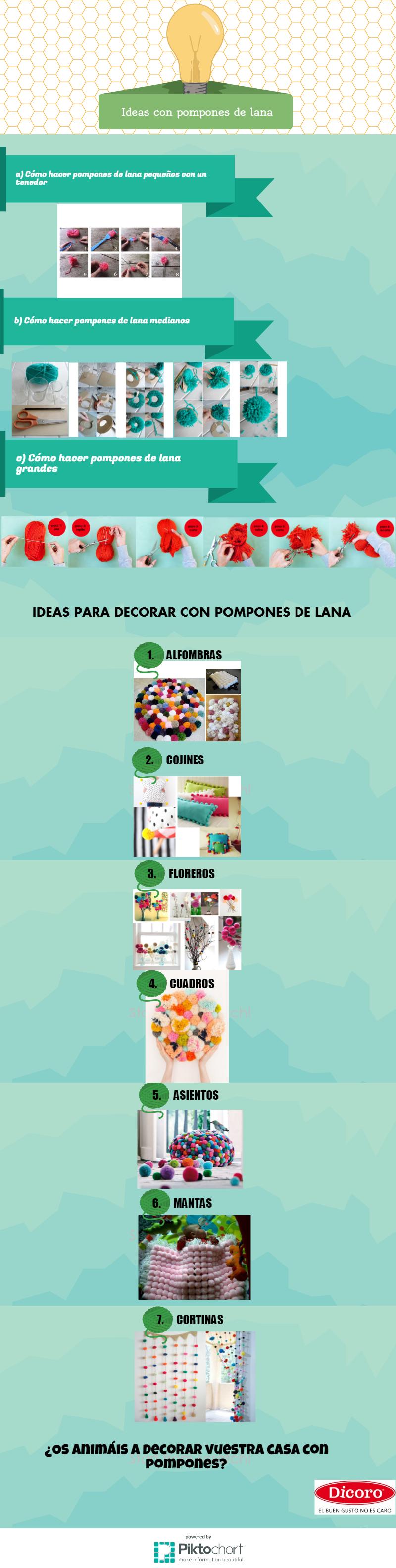 infografía de pompones de lana para decorar