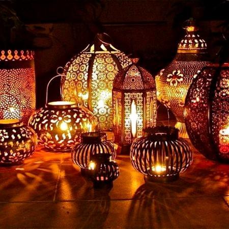 Decoración étnica con luces
