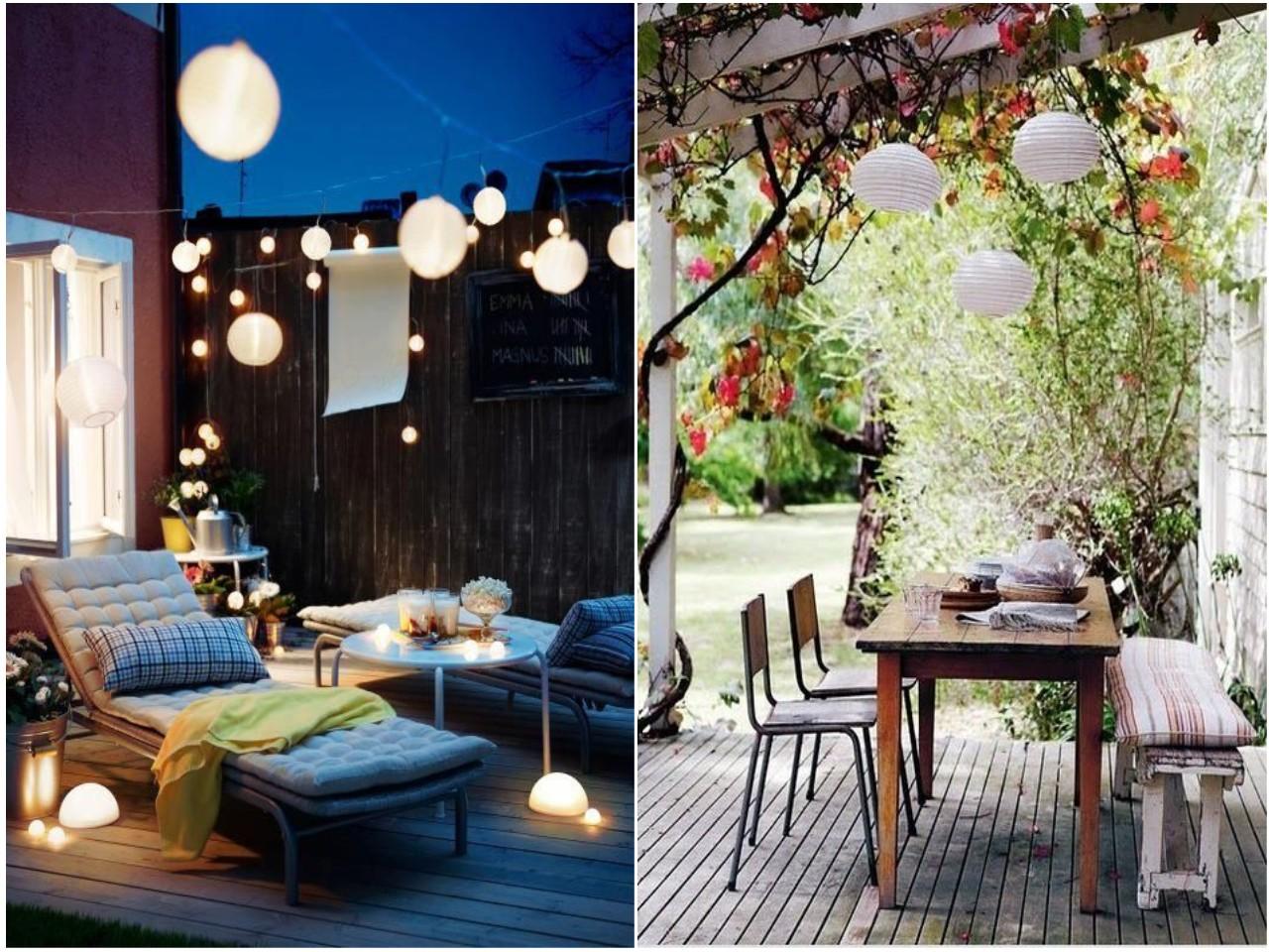 30 ideas para descubrir la decoraci n con luces de colores - Lamparas de terraza ...