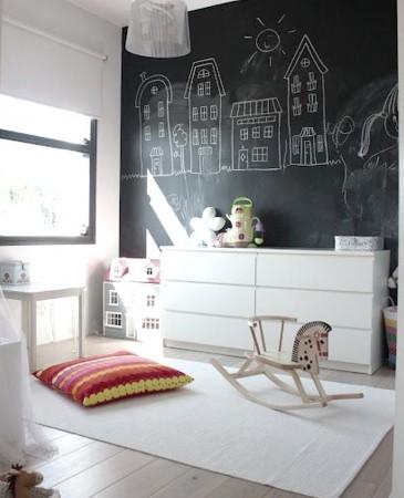 Decoración con pizarras de habitaciones infantiles