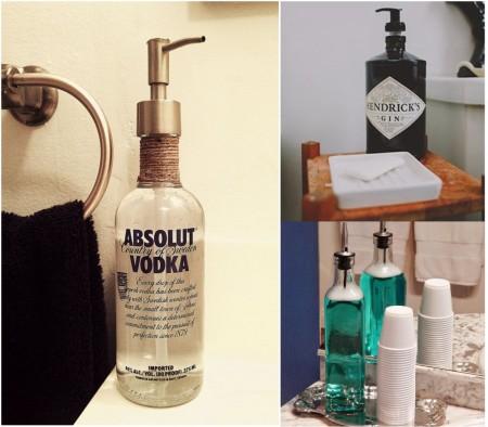 Ideas para reciclar botellas de cristal en el baño