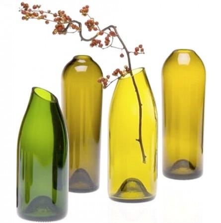 Jarrones reciclados con botellas
