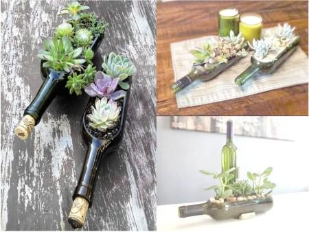 Ideas para reciclar botellas de vidrio con plantas