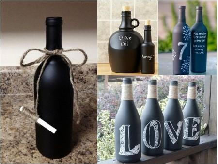 Cómo reciclar botellas de vidrio con pintura de pizarra