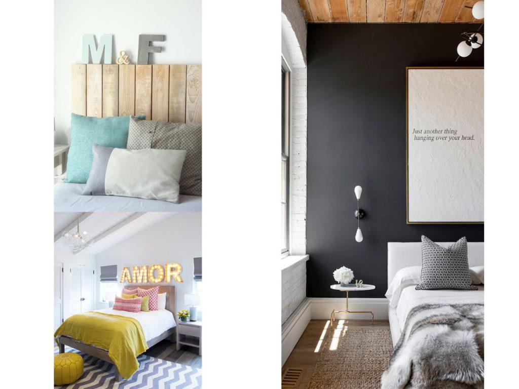 decoración cabeceros de cama con letras
