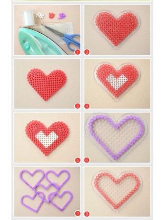 cómo hacer una caja de corazón con hama beads