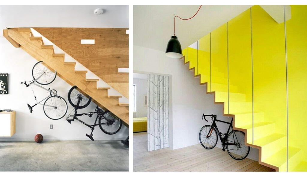 aprovechar espacios debajo de escaleras para guardar la bici
