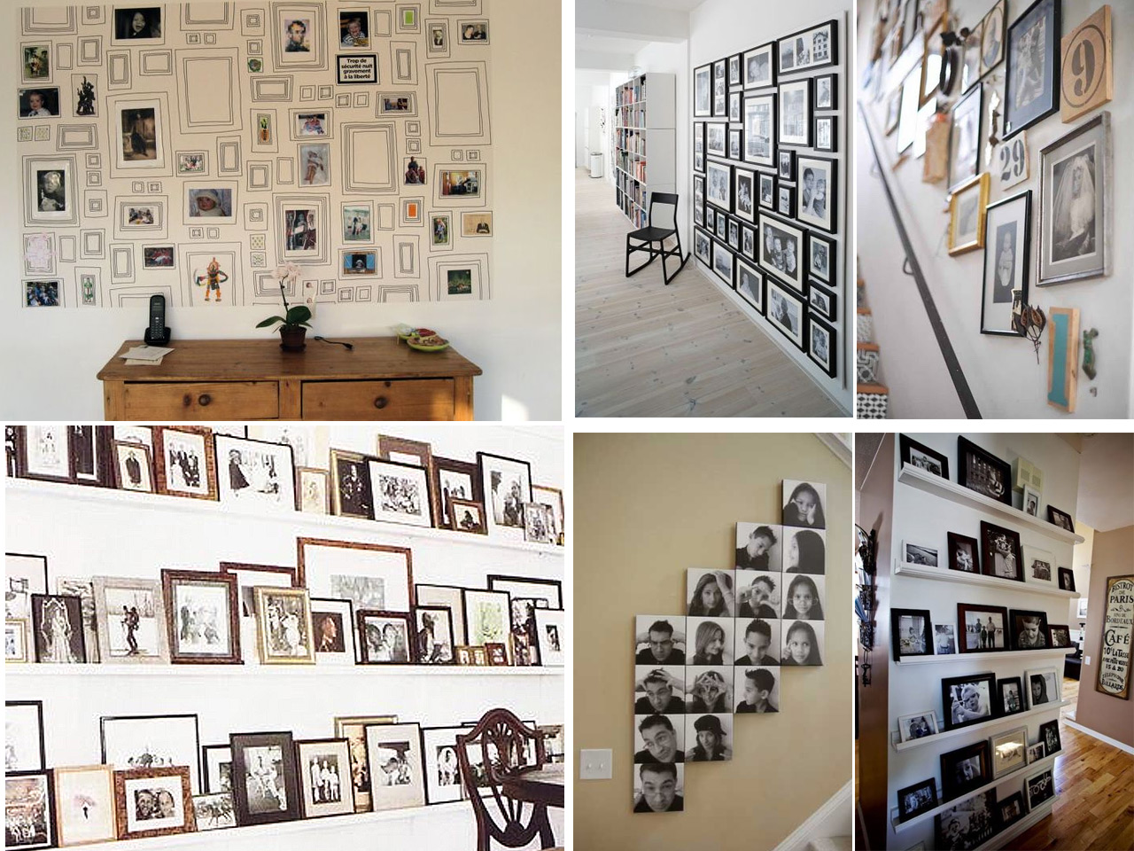 60 brillantes ideas para decorar con fotos familiares - Como decorar paredes salon ...
