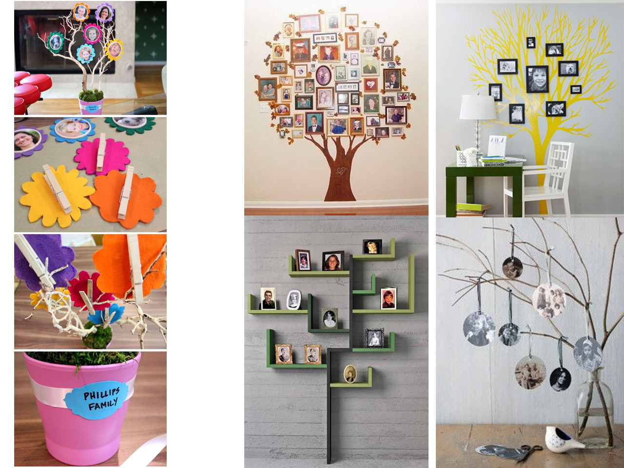 60 brillantes ideas para decorar con fotos familiares - Decoraciones de fotos ...