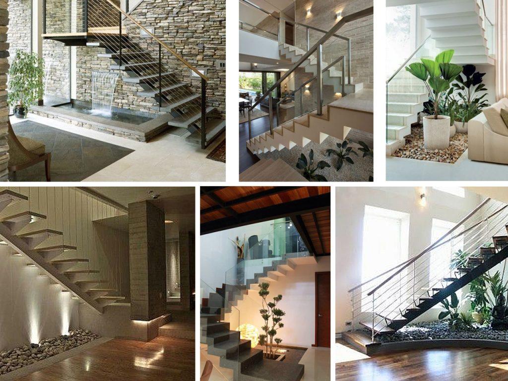 aprovechar espacios debajo de escaleras con plantas