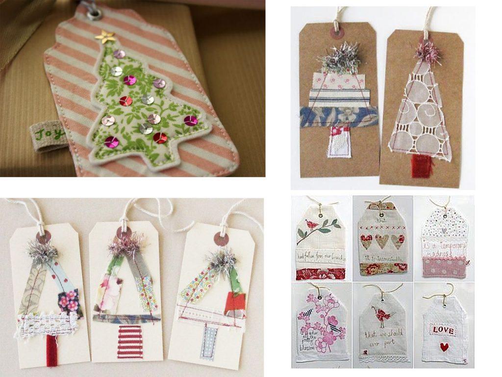 decoracion de postales navideñas con telas