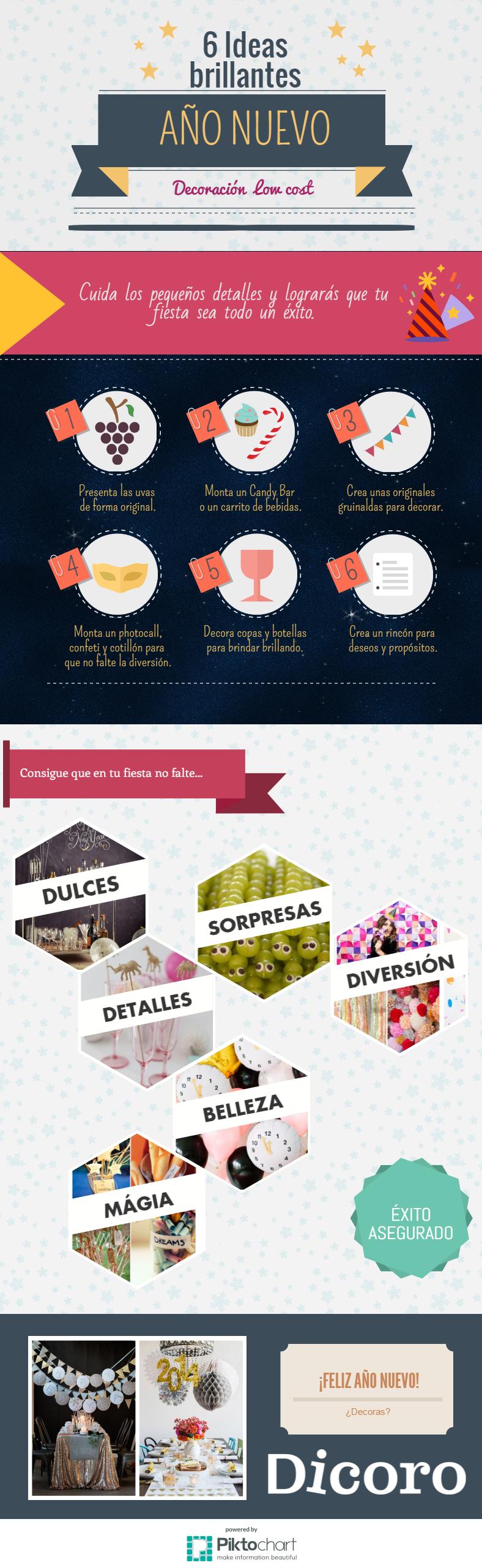 decoración para año nuevo low cost navideña - infografía Dicoro