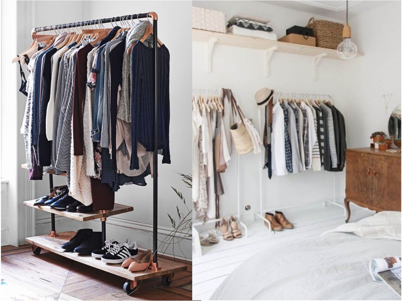 Las 15 mejores ideas para un dormitorio con vestidor abierto - Barra colgar ropa ...