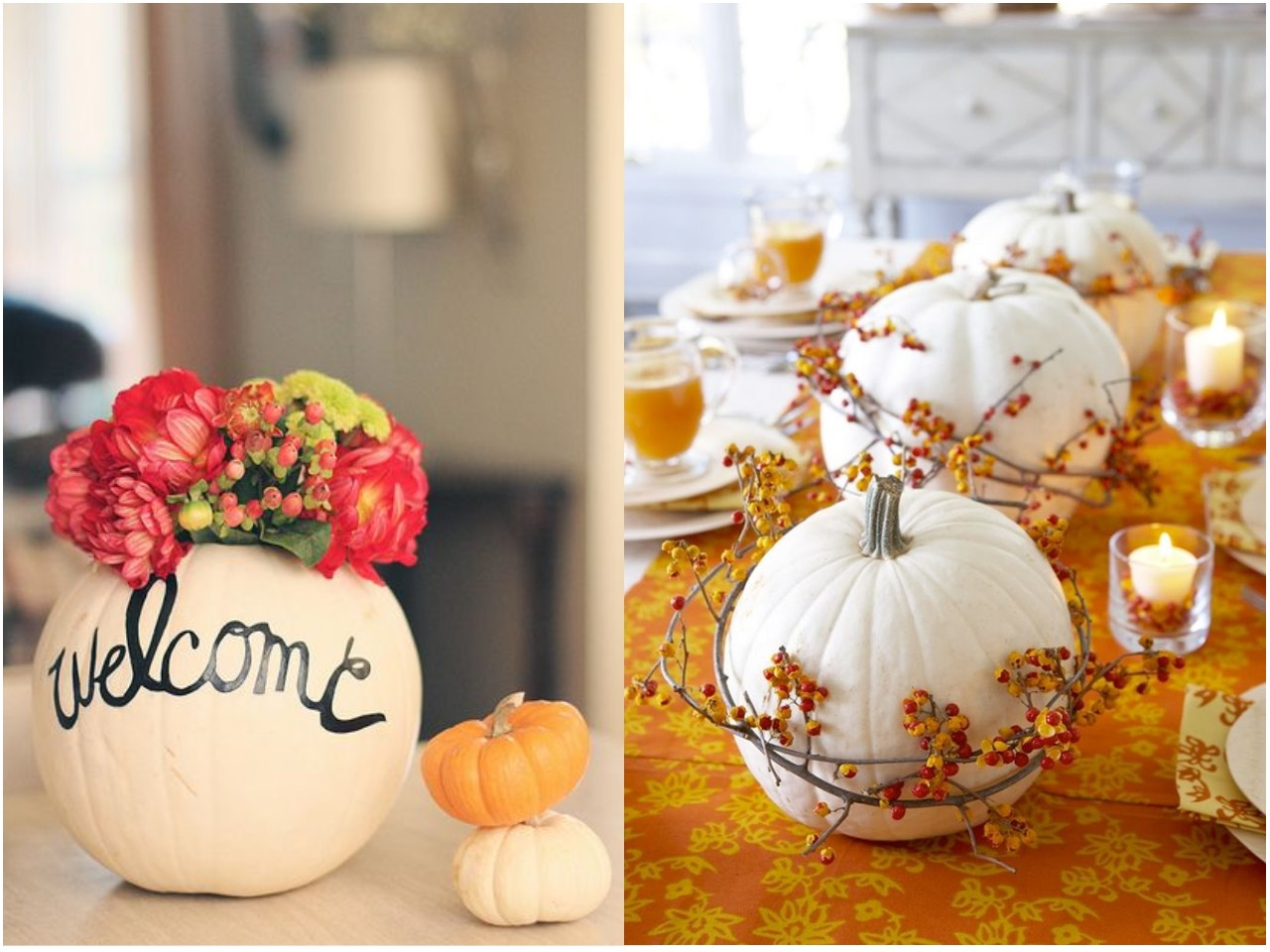 10 cosas originales para decorar tu mesa esta temporada for Decorar calabazas secas