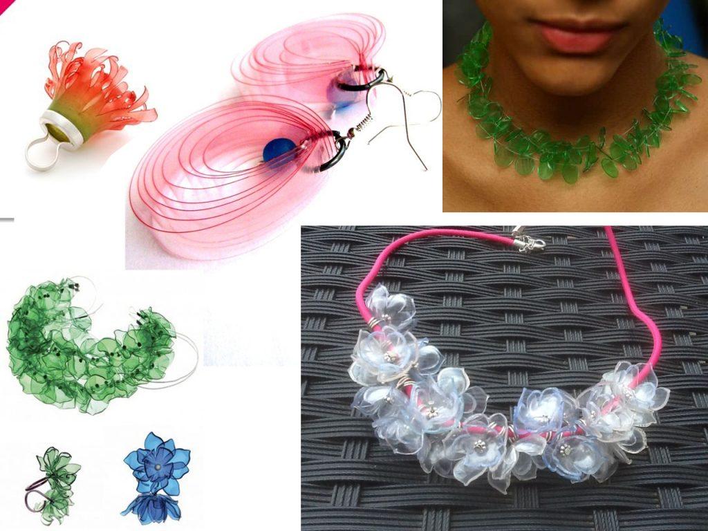 anillos y pendientes con botellas de plástico