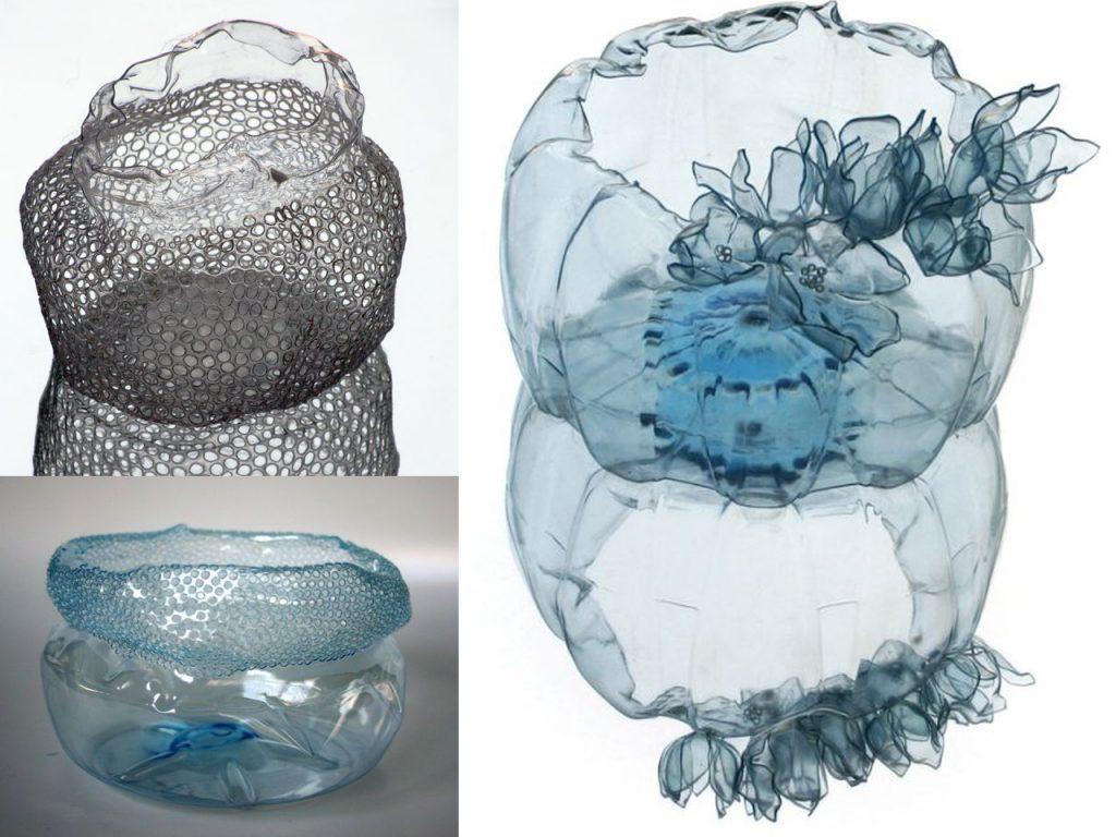 como hacer un bol con una botella de plástico