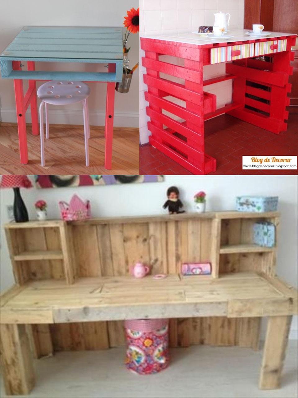 escritorios hechos con palets