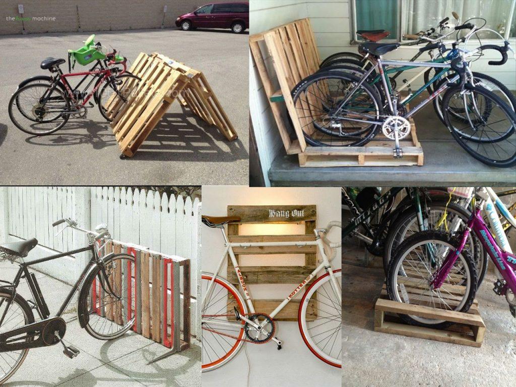parking de bicicletas con palets