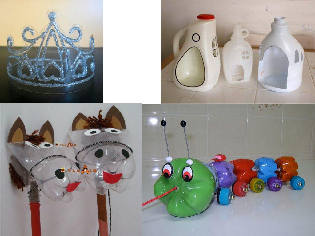 juguetes hechos con botellas de plástico