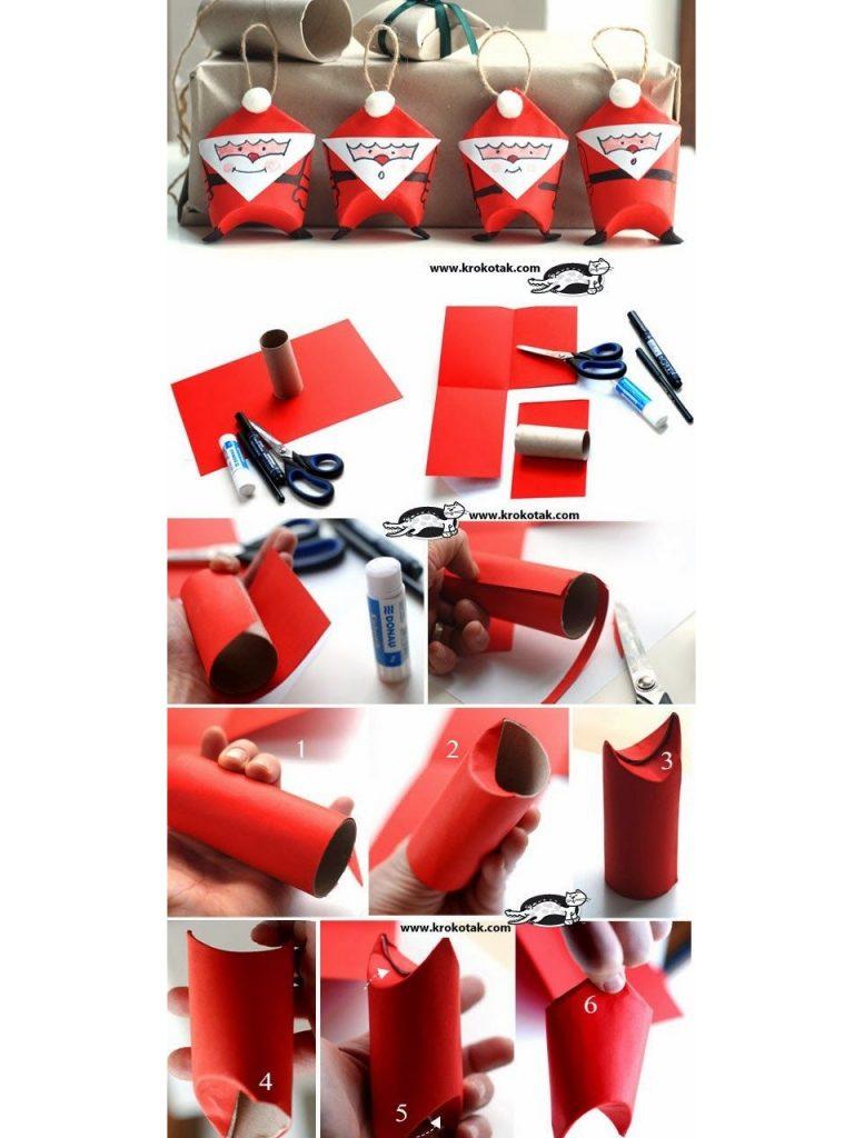 decoracion navideña con rollos de papel higiénico
