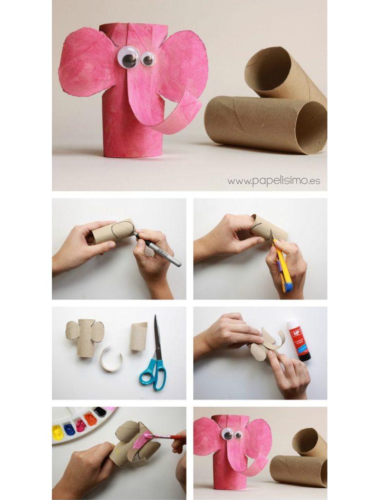 decoración con rollos de papel higiénico