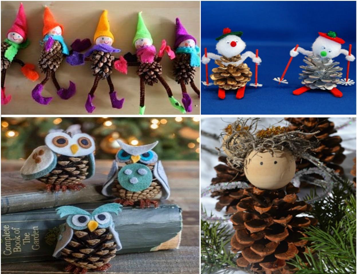 25 diy de decoraci n navide a infantil - Adornos de navidad con pinas ...