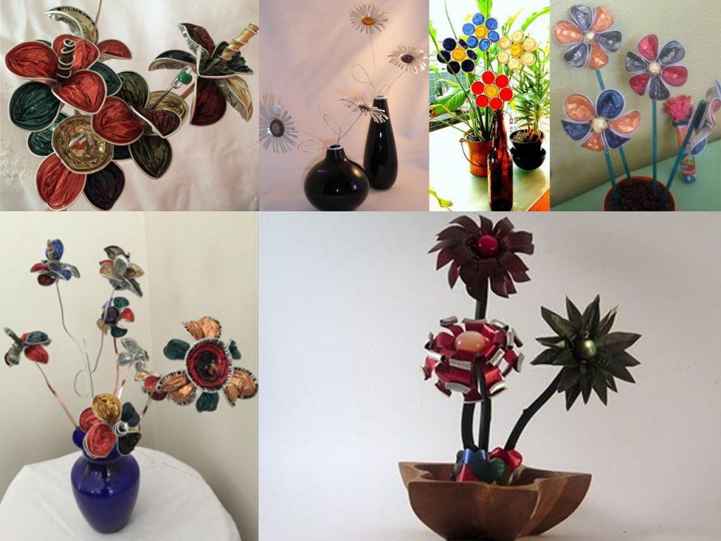 centros de mesa de flores con cápsulas de café