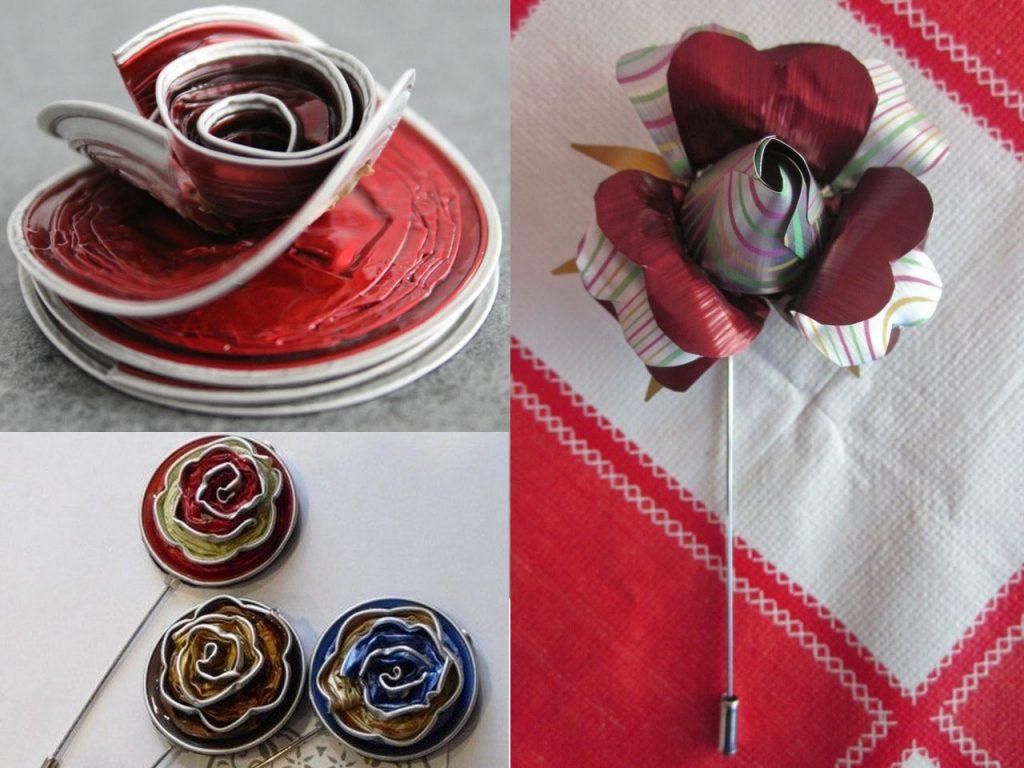 flores rojas con cápsulas de café nespresso